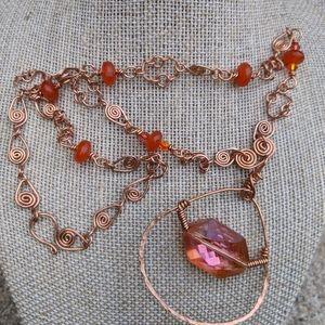Handmade Copper Carnelian Wrap Crystal Necklace